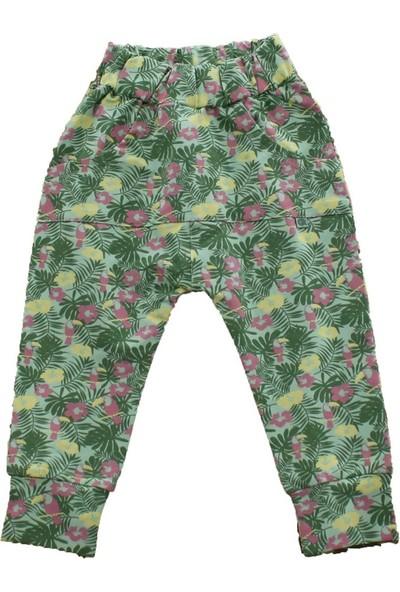 Uygun Bebe Yeşil Çiçekli Kız Çocuk Pantolon