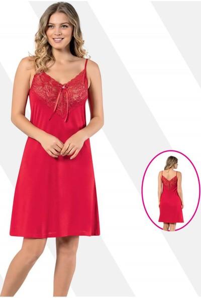 Kota Dantelli Askılı Elbise 6299 Kırmızı