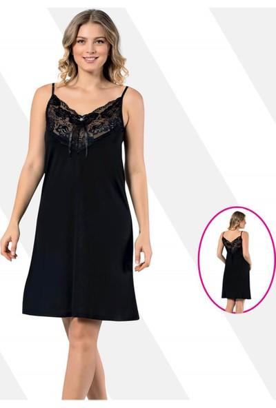 Kota Dantelli Penye Elbise Siyah 6299