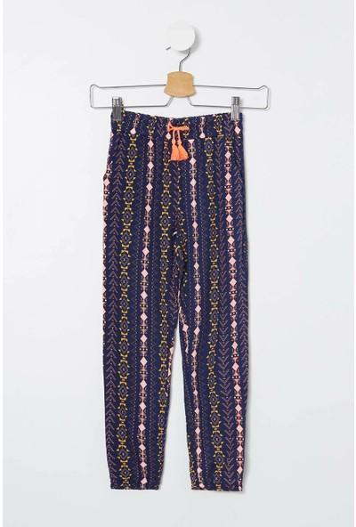 Defacto Kız Çocuk Beli Bağcıklı Etnik Desenli Pantolon