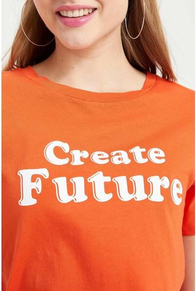 Defacto Kadın Yazı Baskılı T-Shirt