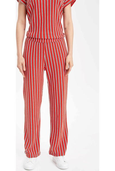 Defacto Kadın Çizgili Rahat Kesim Pantolon