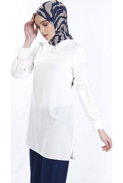 Sitare Kolları Tüllü İncili Gömlek 19Y2483