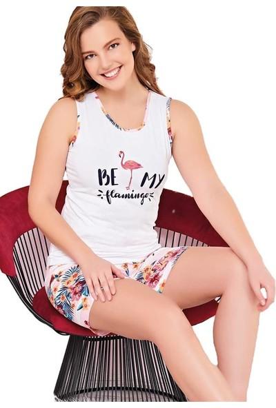Çelebi 9012 Kadın Yazlık Flamingo Şortlu Pijama Takım