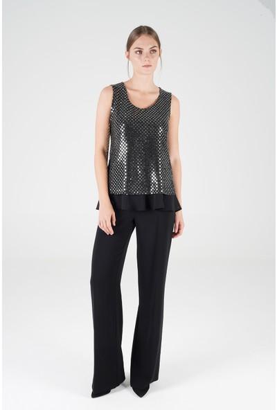On Fashion Kadın Puantiye Pullu Altı Şifon Detaylı Bluz