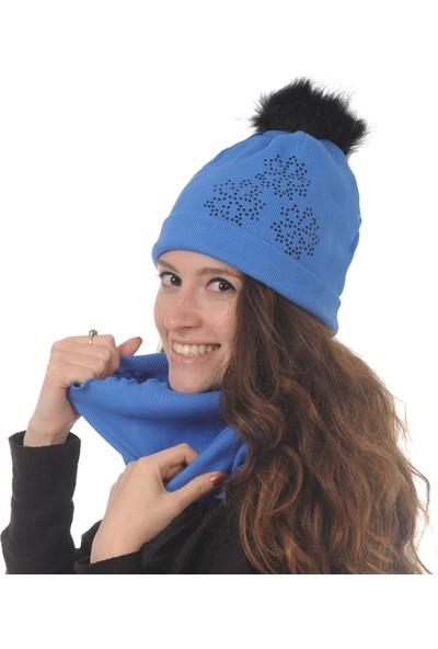 Butikgiz Mavi Renkli Taş İşlemeli Ponpon Aksesuarlı Bere Ve Boyunluk