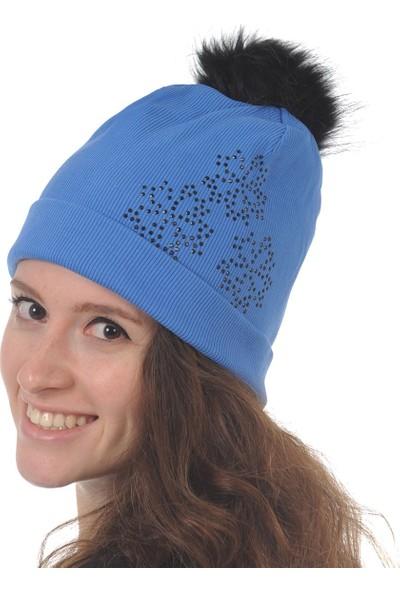 Butikgiz Mavi Renkli Taş İşlemeli Ponpon Aksesuarlı Bere