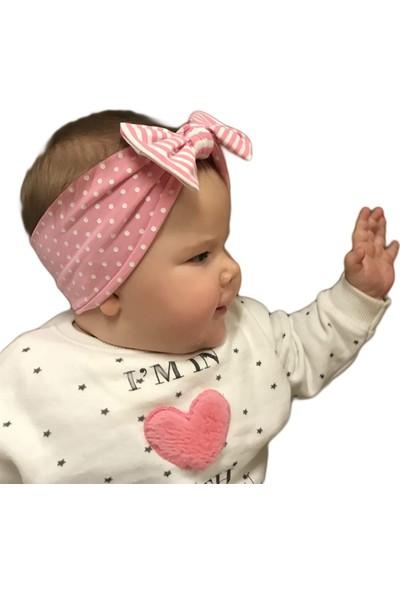 Babygiz Pembe Üzerine Beyaz Puantiye Desenli Pembe Beyaz Çizgili Fiyonk Detaylı Bandana