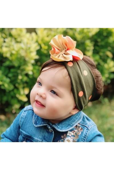 Babygiz Haki Üstüne Somon Puantiye Desenli Çiçek Detaylı Bandana