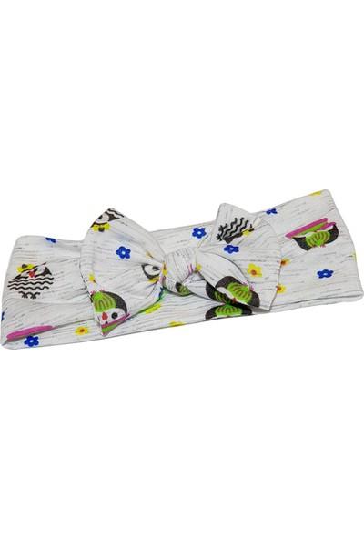 Babygiz Beyaz Üstüne Baykuş Desenli Fiyonk Detaylı Bandana