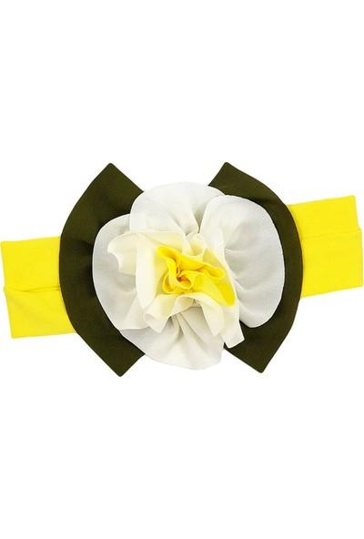 Babygiz Sarı Üstüne Beyaz Sarı Çiçek Detaylı Bandana