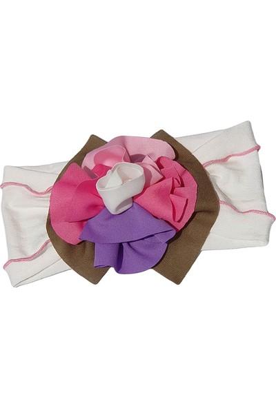 Babygiz Beyaz Üstüne Pembe Çiçek Detaylı Bandana