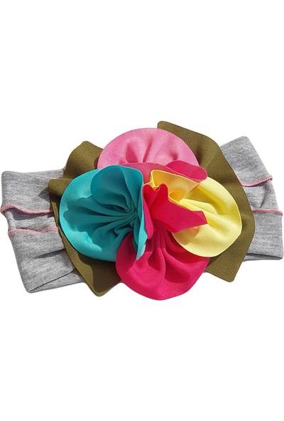 Babygiz Gri Üstüne Renkli Çiçek Detaylı Bandana