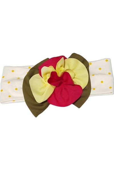 Babygiz Beyaz Üstüne Sarı Puantiyeli Sarı Fuşya Çiçek Detaylı Bandana