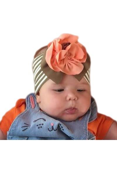 Babygiz Haki Beyaz Çizgili Somon Çiçek Detaylı Bandana