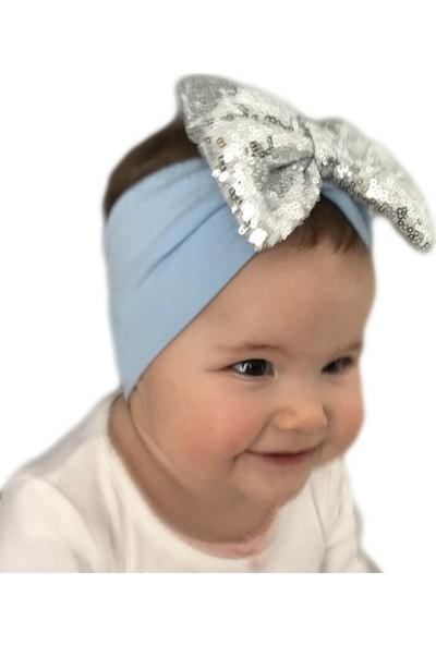 Babygiz Mavi Üstüne Gümüş Payetli Fiyonk Detaylı Bandana