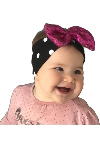 Babygiz Siyah Beyaz Puantiyeli Fuşya Payetli Fiyonk Detaylı Bandana