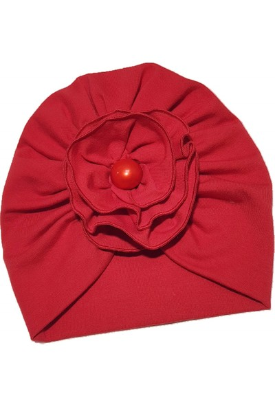Babygiz Kırmızı Çiçek Detaylı Bone