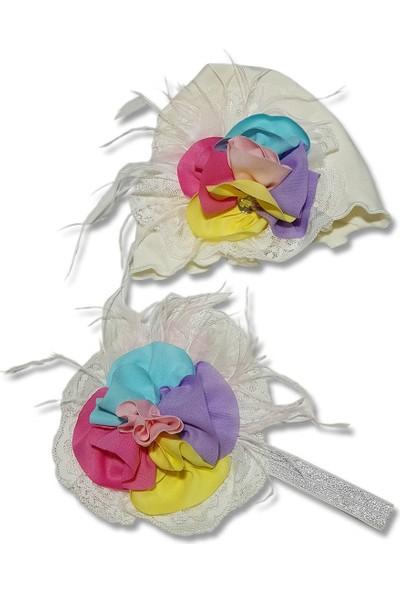 Babygiz Ekru Üstüne Tüllü Renkli Çiçek Detaylı Anne Bebek Bandana Bere Takım