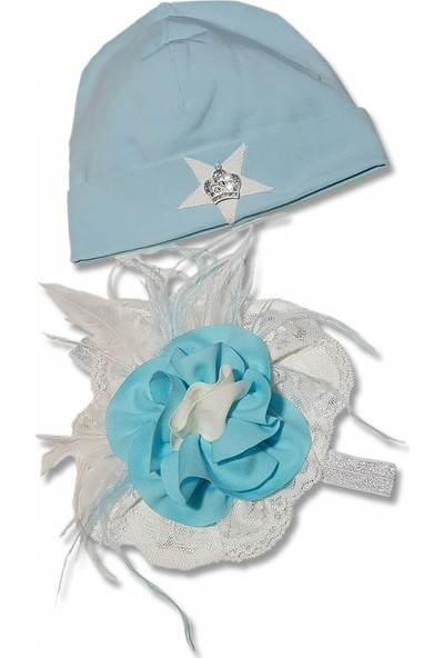 Babygiz Beyaz Mavi Üstüne Tüllü Çiçek Yıldız Detaylı Anne Bebek Bandana Bere Takımı