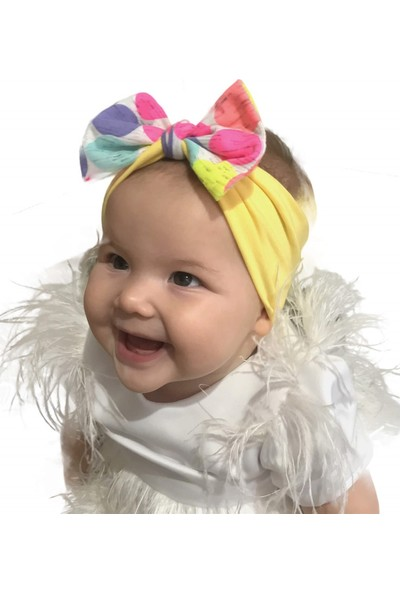 Babygiz Sarı Üstüne Beyaz Büyük Renkli Puantiye Detaylı Bandana