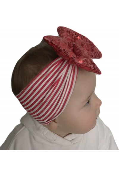 Babygiz Beyaz Çizgili Üstüne Kırmızı Payetli Fiyonk Detaylı Bandana