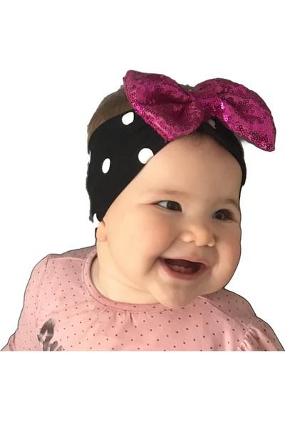 Babygiz Siyah Üstüne Beyaz Puantiyeli Fuşya Fiyonk Detaylı Bandana