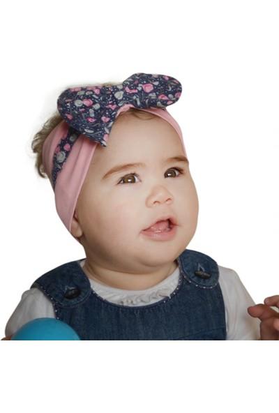 Babygiz Pembe Üstüne Lacivert Çiçekli Fiyonk Detaylı Bandana