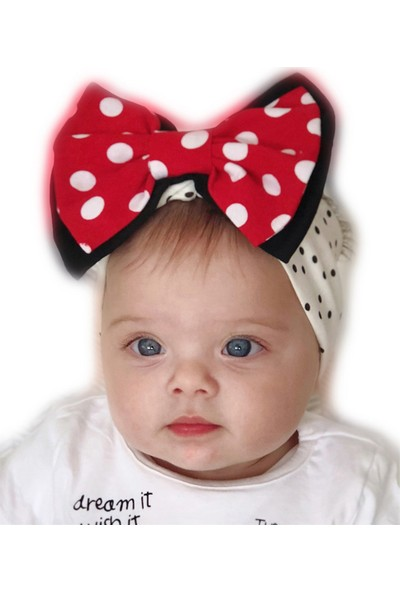 Babygiz Puantiyeli Kırmızı Siyah Beyaz Fiyonk Detaylı Bandana