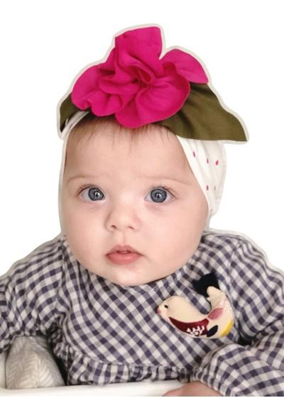 Babygiz Beyaz Üzeri Fuşya Puantiyeli Fuşya Çiçek Detaylı Bandana