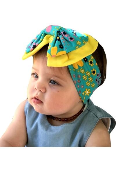 Babygiz Mavi Sarı Üzeri Çiçek Desenli Fiyonk Detaylı Bandana