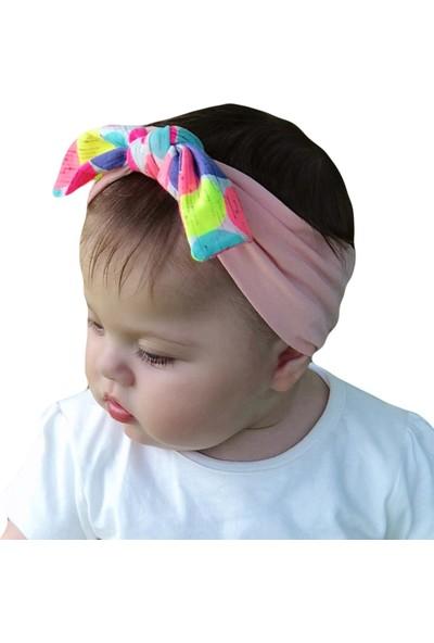 Babygiz Pembe Üstüne Renkli Puantiye Desenli Fiyonk Detaylı Bandana
