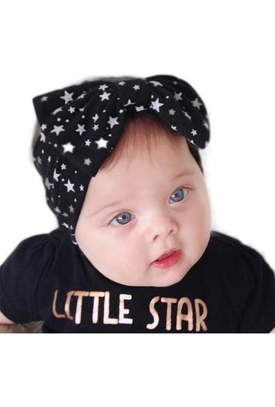 Babygiz Siyah Üzeri Yıldız Desenli Fiyonk Bandana