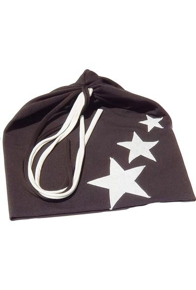 Babygiz Siyah Beyaz Yıldız İşlemeli İp Detaylı Şapka
