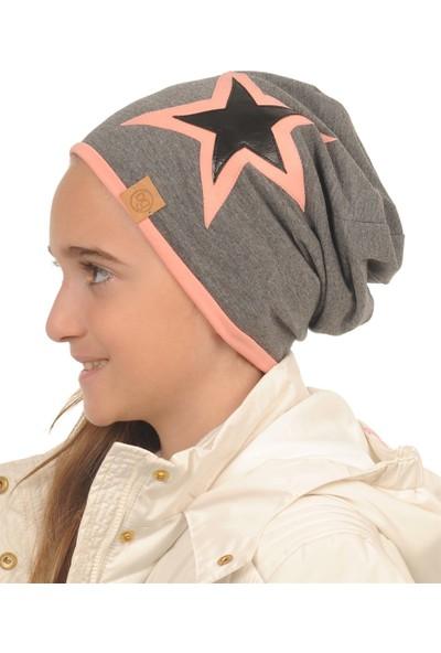 Babygiz Gri Renk Üstüne Pudra Ve Siyah Renk Yıldız Detaylı Bere&Şapka