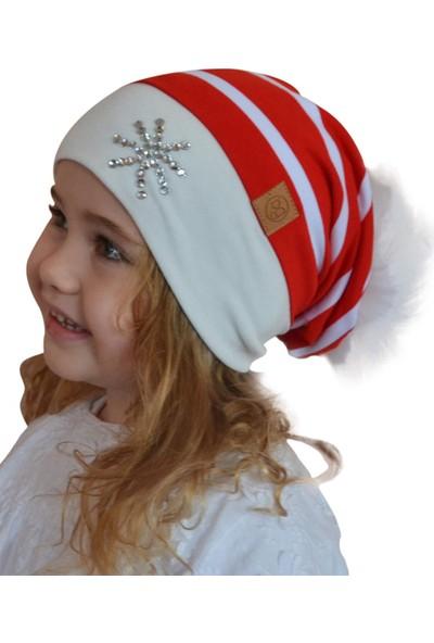 Babygiz Kırmızı Üstüne Beyaz Çizgili Ponpon Aksesuarlı Taş Detaylı Bere