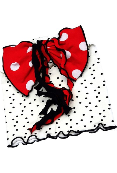 Babygiz Beyaz Siyah Kırmızı Puantiye Desenli Fiyonk Ve Püskül Detaylı Bere