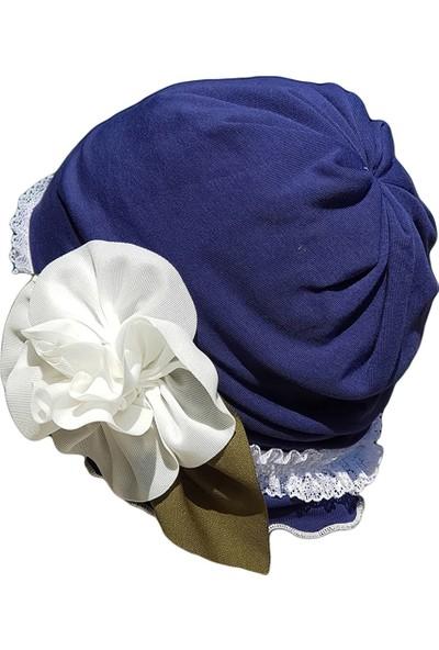 Babygiz Lacivert Çiçek Aksesuarlı Bere