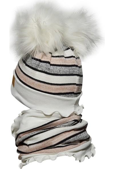 Babygiz Pembe Gri Beyaz Ponpon Detaylı Bere Boyunluk Takım