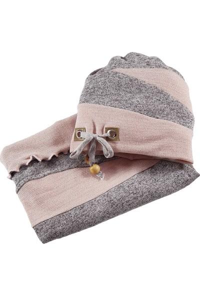 Babygiz Gri Pembe İp Detaylı Şapka Boyunluk Takım