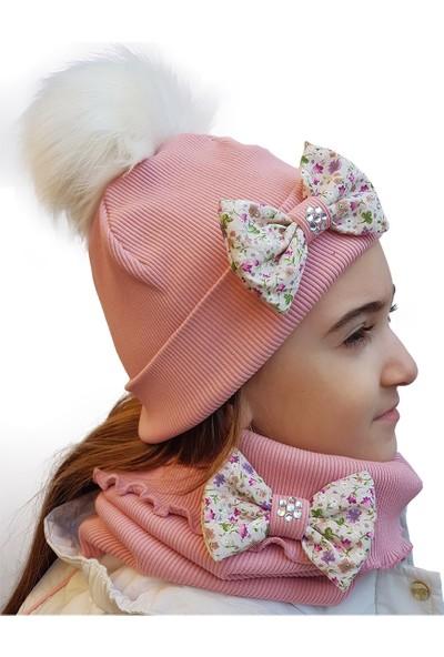 Babygiz Pembe Fiyonk Aksesuarlı Ponpon Detaylı Şapka Boyunluk Takım