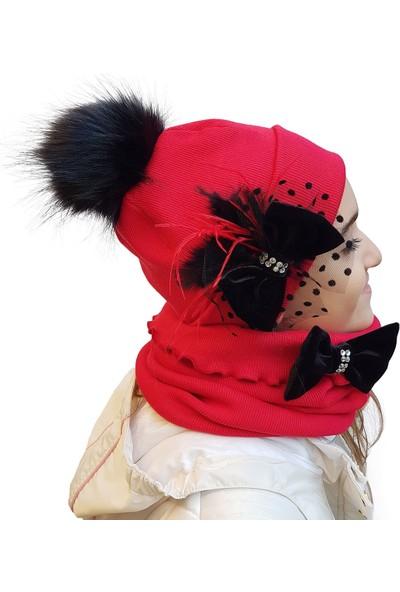 Babygiz Kırmızı Siyah Fiyonk Aksesuarlı Ponpon Detaylı Şapka Boyunluk Takım