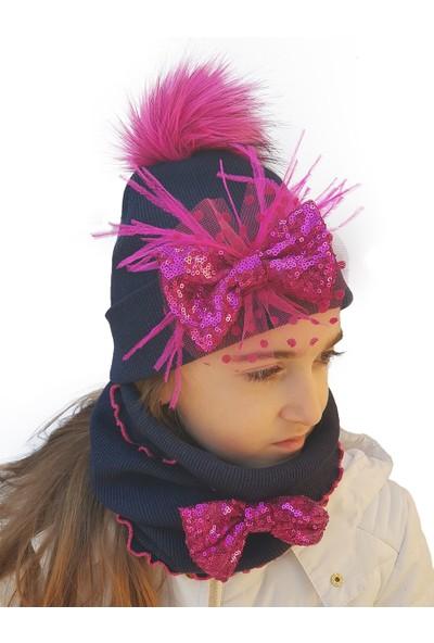 Babygiz Lacivert Fuşya Payetli Fiyonk Aksesuarlı Ponpon Detaylı Şapka Boyunluk Takım