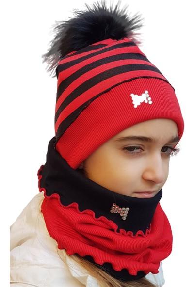 Babygiz Kırmızı Siyah Çizgili Taş Detaylı Ponpon Aksesuarlı Şapka Boyunluk Takım