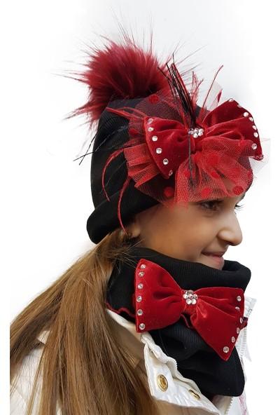 Babygiz Siyah Üzeri Kırmızı Tüllü Fiyonk Aksesuarlı Ponpon Detaylı Şapka Boyunluk Takım