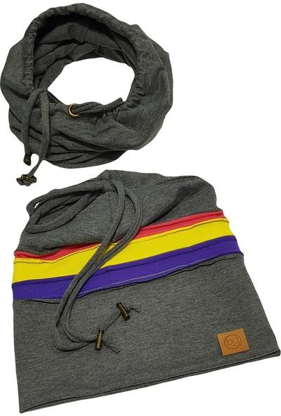 Babygiz Gri Üzeri Renkli Çizgili İp Detaylı Şapka Boyunluk Takım