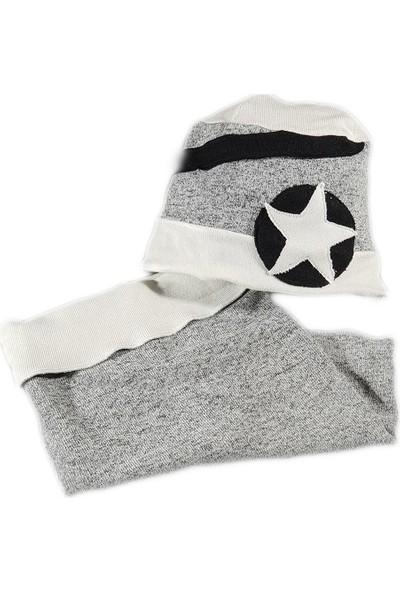 Babygiz Beyaz Gri Siyah Yıldız İşlemeli Şapka Boyunluk Takım