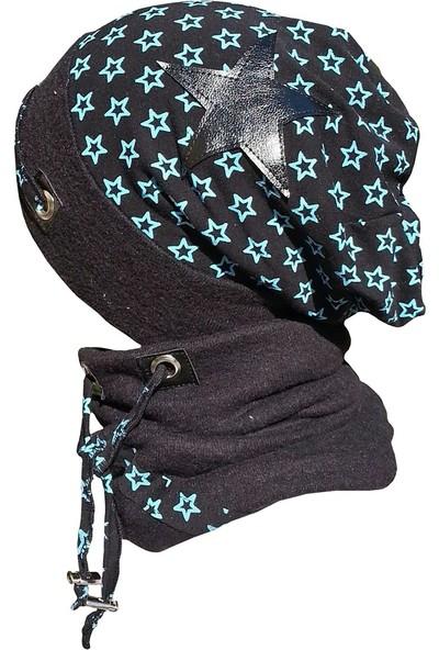 Babygiz Füme Mavi Yıldız Desenli İp Detaylı Şapka Boyunluk Takım
