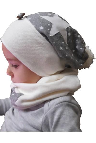 Babygiz Gri Beyaz Yıldız İşlemeli Ponpon Detaylı Şapka Boyunluk Takım
