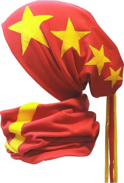 Babygiz Kırmızı Üzeri Sarı Yıldız İşlemeli Şeritli İp Detaylı Şapka Boyunluk Takım